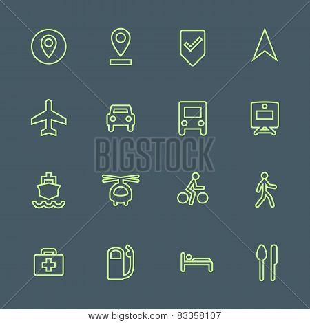 light green outline various map navigation icons set