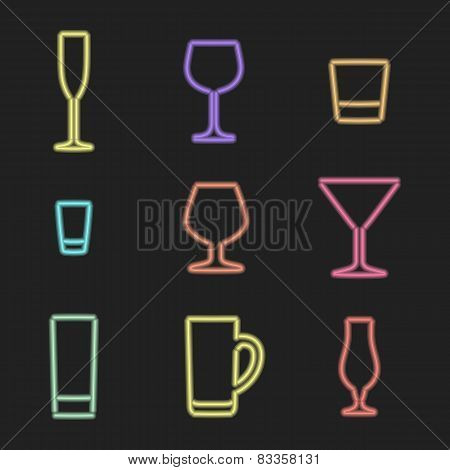 neon light alcohol glasses icons