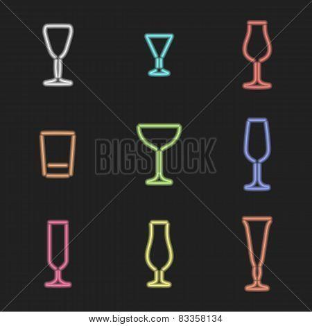 neon light colors various alcohol glasses set