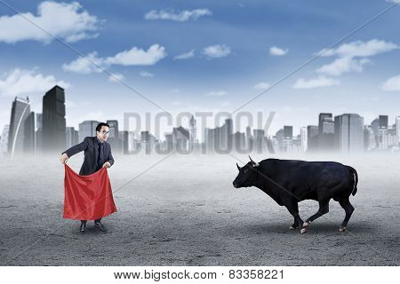 Businessman With A Mad Bull