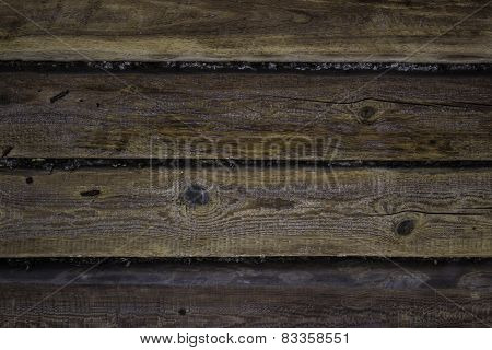 Natural wooden background with hoarfrost