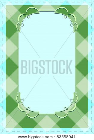 Vector Checkered Background With Tracery Frame