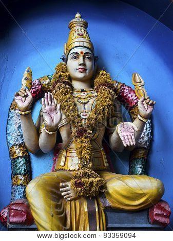 Statue Of Hindu God At Batu Caves, Kuala Lumpur, Malaysia.