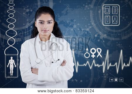 Confident Doctor With Futuristic Screen