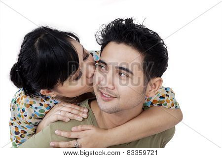 Couple Kissing On White Background