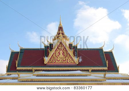 Rooftop And Spire Of Buddhist Temple