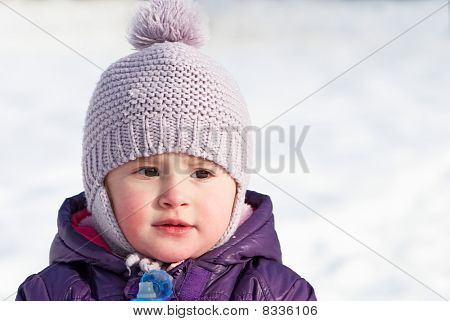 Little Girl Outdoor In Winter