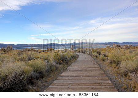 Wooden walkway to Mono lake