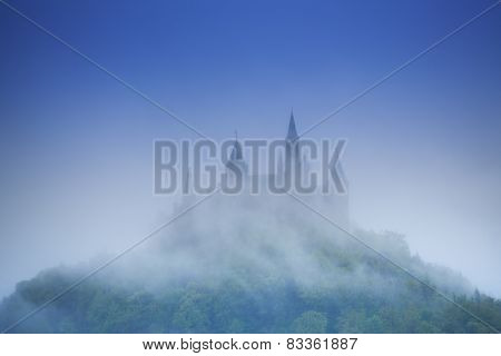 Beautiful view of Hohenzollern castle in haze
