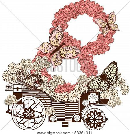 Cute Greeting Card With Fake Carriage And Number 8 From Flowers