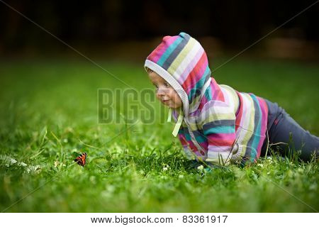 Toddler and butterfly