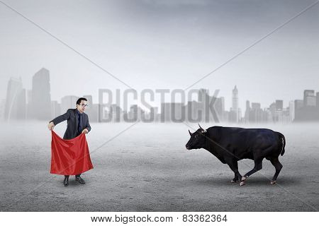 Male Entrepreneur Fighting With A Bull