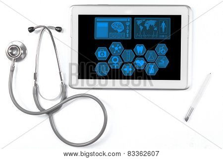 Medical Icons On The Tablet With Stethoscope