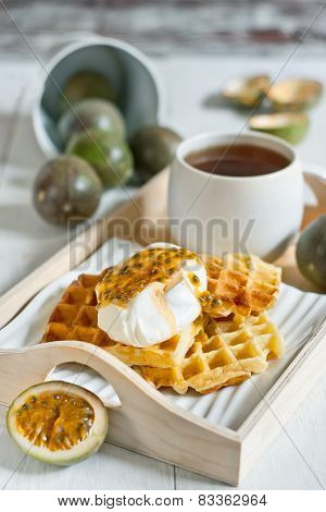 Waffles With Cream And Passionfruit