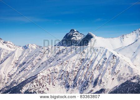 Landscape of Caucasus mountains peak  during day