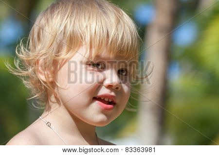 Cute Smiling Caucasian Blond Baby Girl Portrait