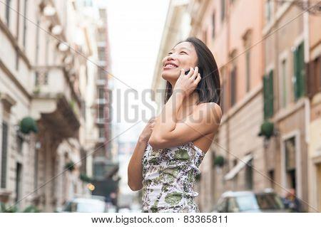 Young Beautiful Asian Woman Smiling Using Mobile Phone Spring Urban