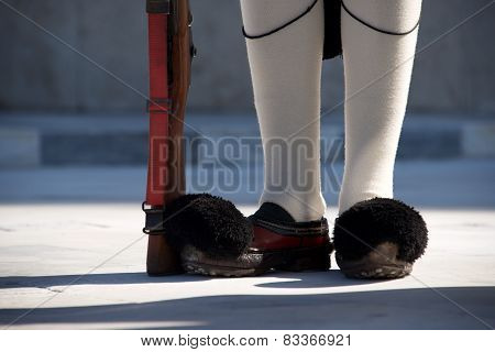 Shoes And Rifle Of Greek Presidential Guardsman