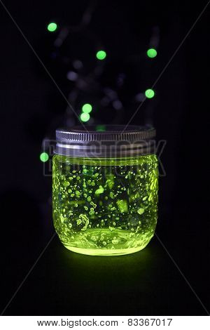 Glowing Jar In The Darkness