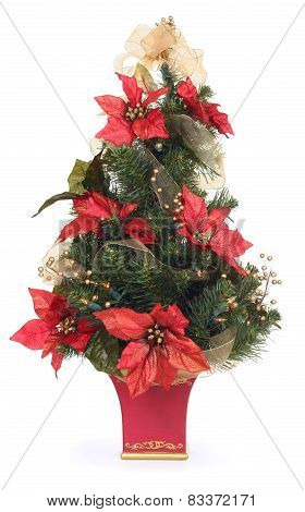 Christmas Tree with Poinsettias