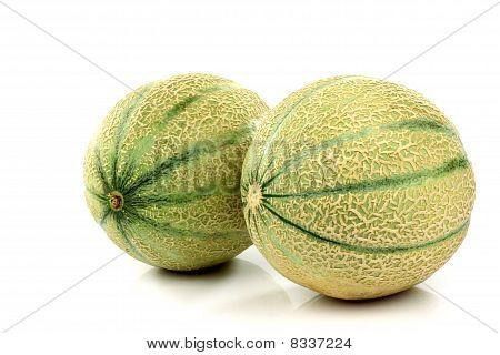 Two whole cantaloupe melons