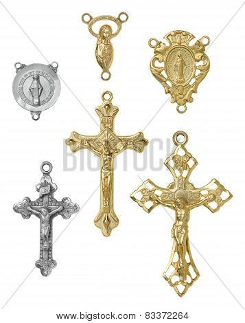 Crucifix Crosses and Rosary Center Pieces