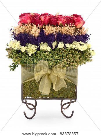 Dried Roses and Flowers Topiary Bouquet