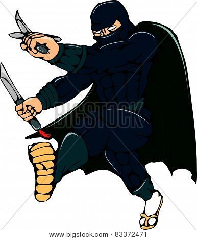 Ninja Masked Warrior Kicking Cartoon
