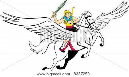Valkyrie Amazon Warrior Flying Horse Cartoon