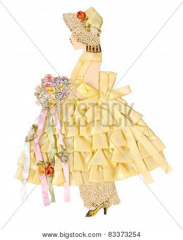 Vintage Ribbon Paper Doll