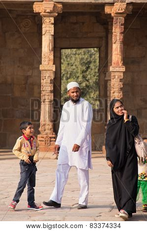 Delhi, India - November 4: Unidentified Man, Woman And Kids Walk In Quwwat-ul-islam Mosque Courtyard