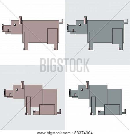 symbol icon rectangle animal boar