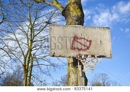 Basketball Hoop Primitive Board With Broken Net On Tree