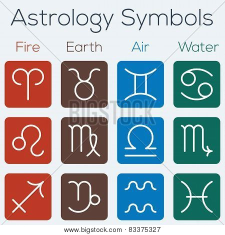 Astrological Signs Of The Zodiac. Flat Thin Line Icon Style Vector Set Of Astrology Symbols.