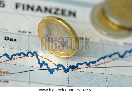 Euro coins on chart