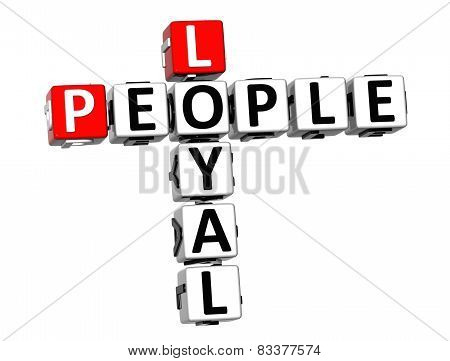 3D Crossword Loyal People On White Background