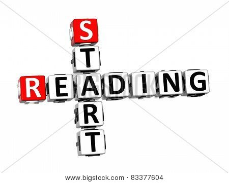 3D Crossword Start Reading On White Background