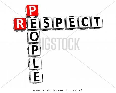 3D Crossword Respect People On White Background