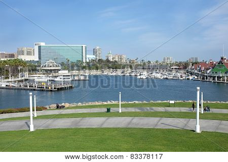Rainbow Harbor And Long Beach Skyline