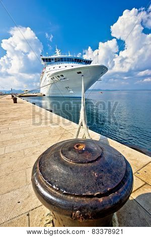 Cruiser Ship Tied On Mooring Bollard