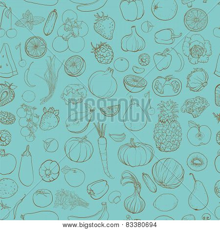 Seamless Vector Pattern With Contour Drawing Of Vegetables, Fruit, Berries