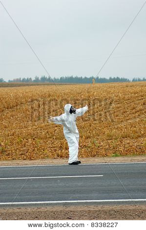 Scientist Near Road In Poluted Area