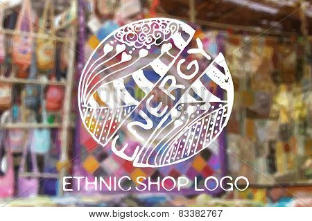 Detailed hand drawn zentangle logo. Energy.