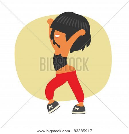Sporty dancing beautiful teenager girl character