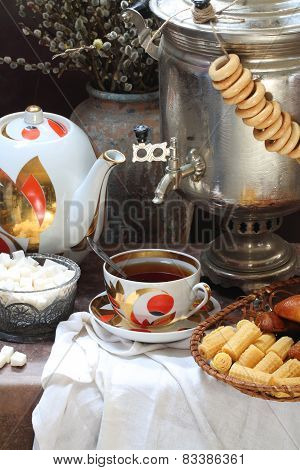 Tea With Wafer Tubules And A Samovar