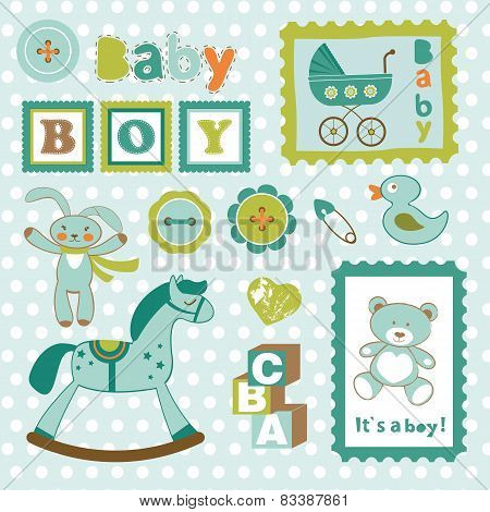 Baby boy card stamps cute collection