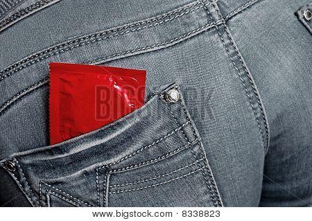 Condom In Jeans Back Pocket