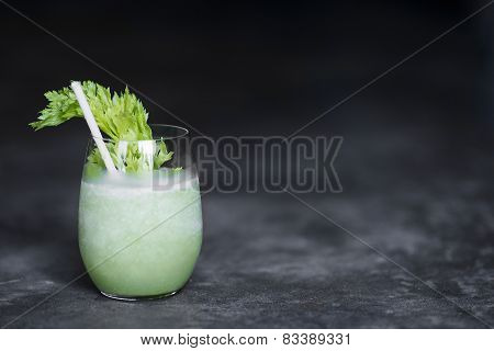 Cucumber Celery And  Lettuce Juice In Glass