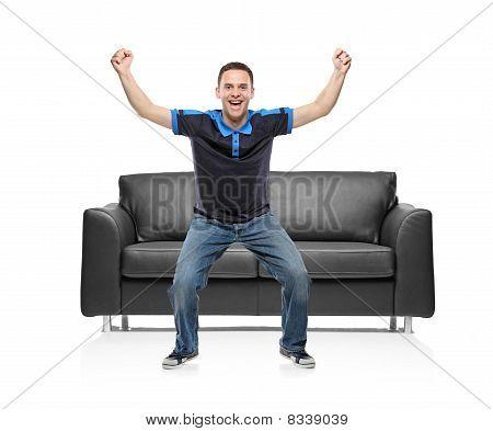 A view of a happy sport fan