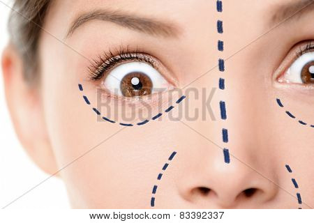 Plastic surgery funny concept - scary face scared woman. Closeup of female facial features expressing surprise and shock for medical procedure. Surgical mark lines under eyes, nose and around mouth.